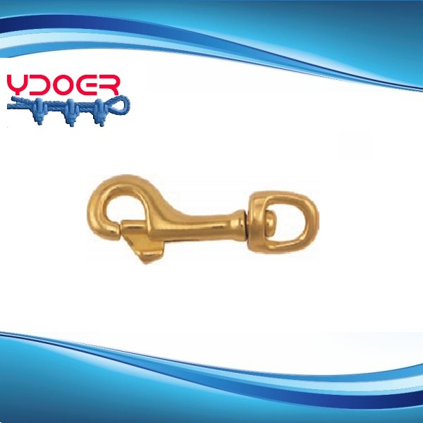 Solid Brass Snap Hook with Swivel Eye
